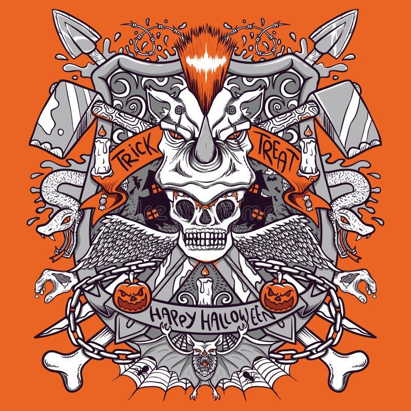 Lycklig halloween läskig emblemillustration royaltyfri illustrationer