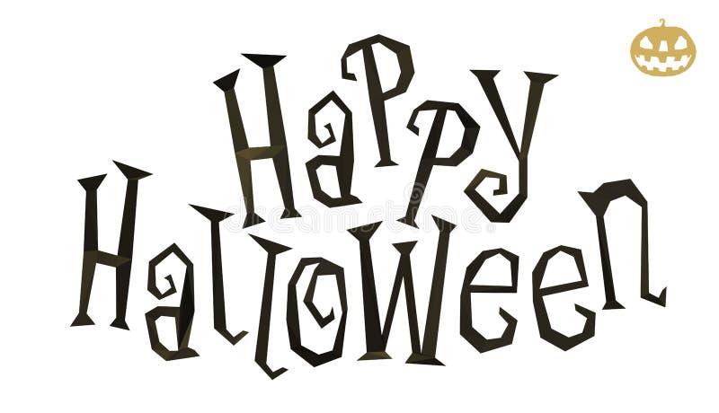Lycklig halloween lågt poly titel royaltyfri illustrationer