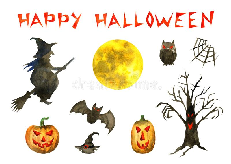 Lycklig Halloween set stock illustrationer