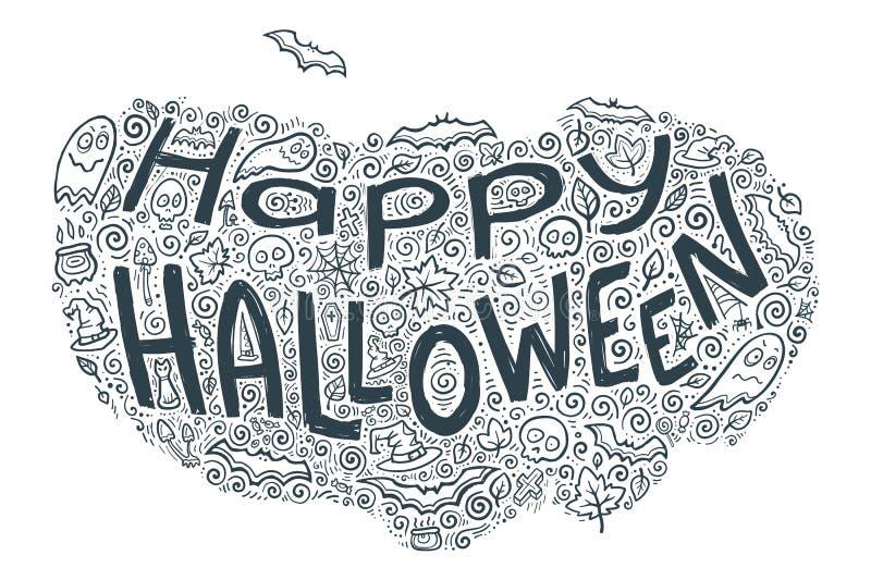 Lycklig halloween vektorbokstäver med molnet för modell för klotterferiesymboler omkring stock illustrationer