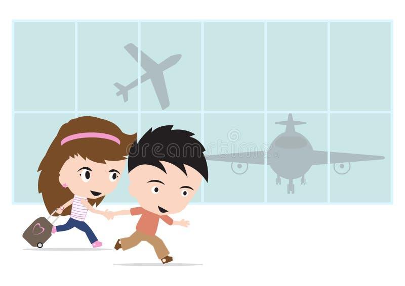 Lycklig handelsresandeman och kvinna med bagage och att gå till flygplatsen och flygplanet för loppsommarbegrepp på vit bakgrund stock illustrationer