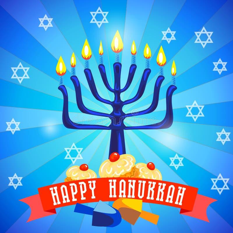Lycklig hanukkah begreppsbakgrund, tecknad filmstil royaltyfri illustrationer