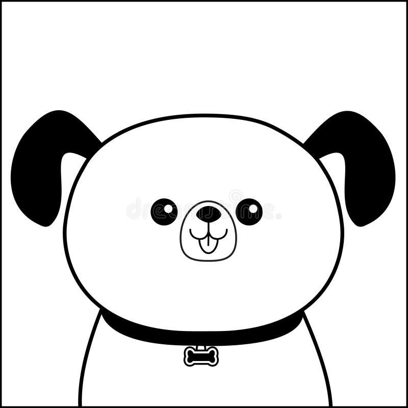 Lycklig head framsidakontur för hund Konturlinje Pilbågemedaljong Gulligt tecknad filmpoochtecken Kawaii djur Roligt behandla som royaltyfri illustrationer