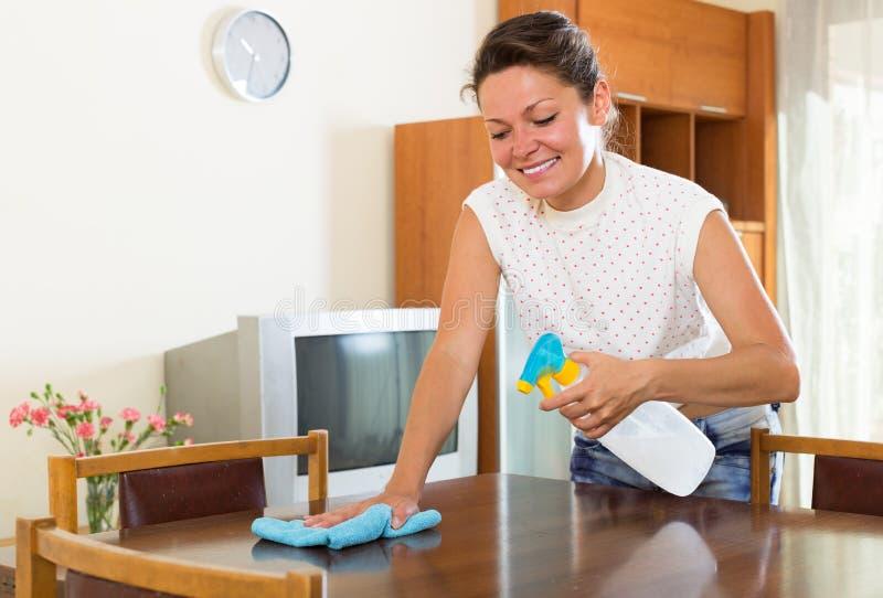 Lycklig hemmafru som gör av ren dammet arkivfoton