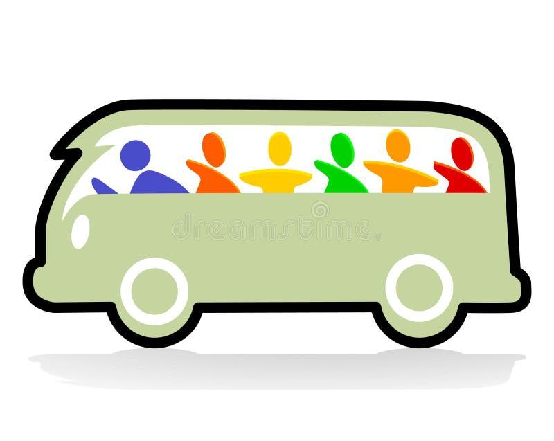 lycklig hippie för buss stock illustrationer