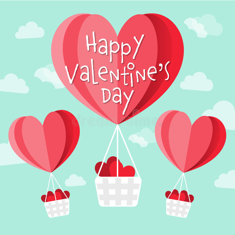 Lycklig hjärta för vektorn för dagen för valentin` s formade ballonger för varm luft stock illustrationer