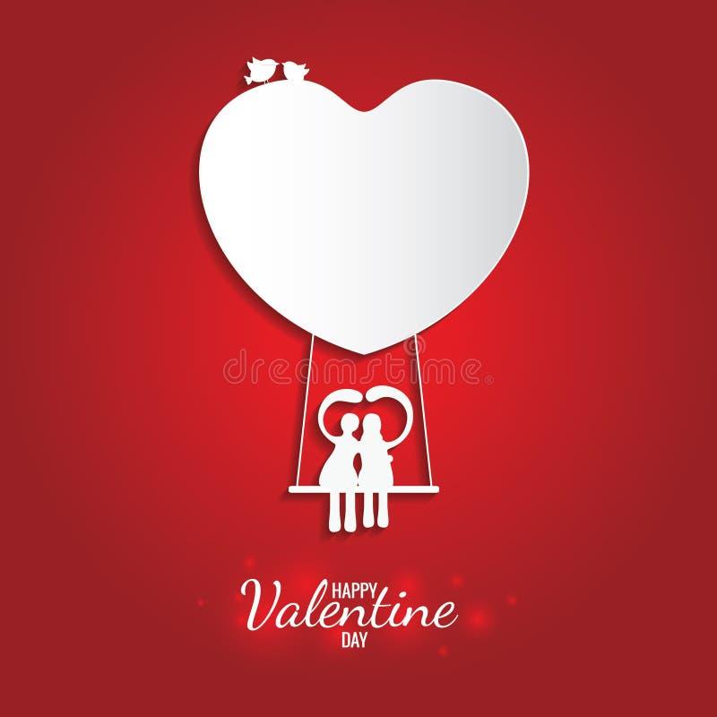 Lycklig hjärta och gunga för valentindag söt vit på ballongen royaltyfri illustrationer