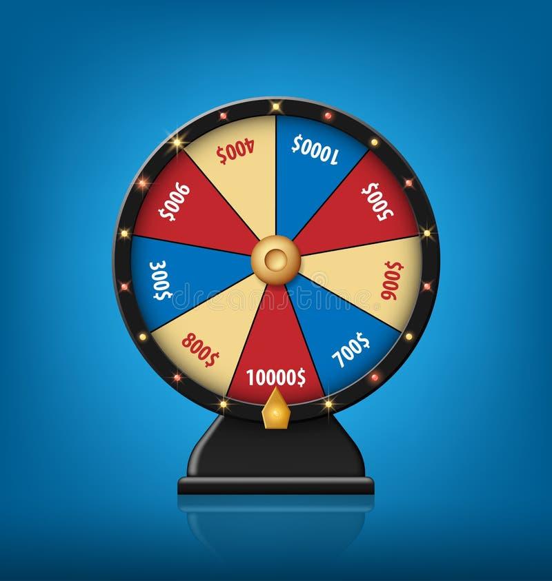 Lycklig hjulmall för färg Realistiskt hjul av förmögenhet som isoleras på blå bakgrund också vektor för coreldrawillustration royaltyfri illustrationer