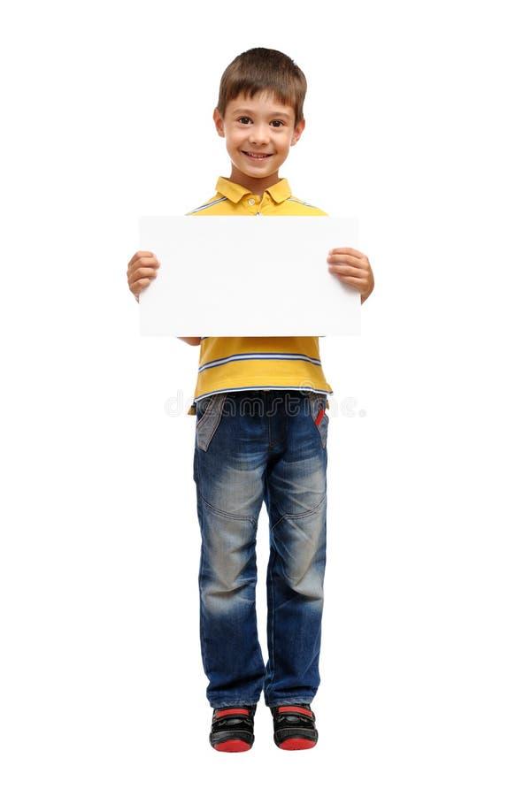 lycklig holdingaffisch för barn arkivfoto