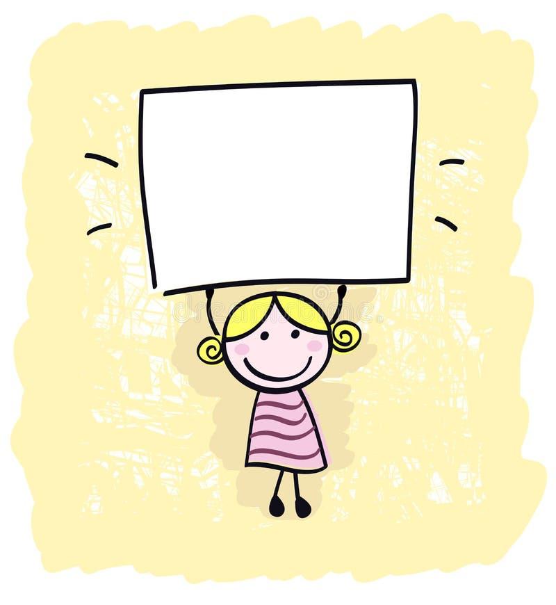 lycklig holdingunge för blank tom flicka little vektor illustrationer