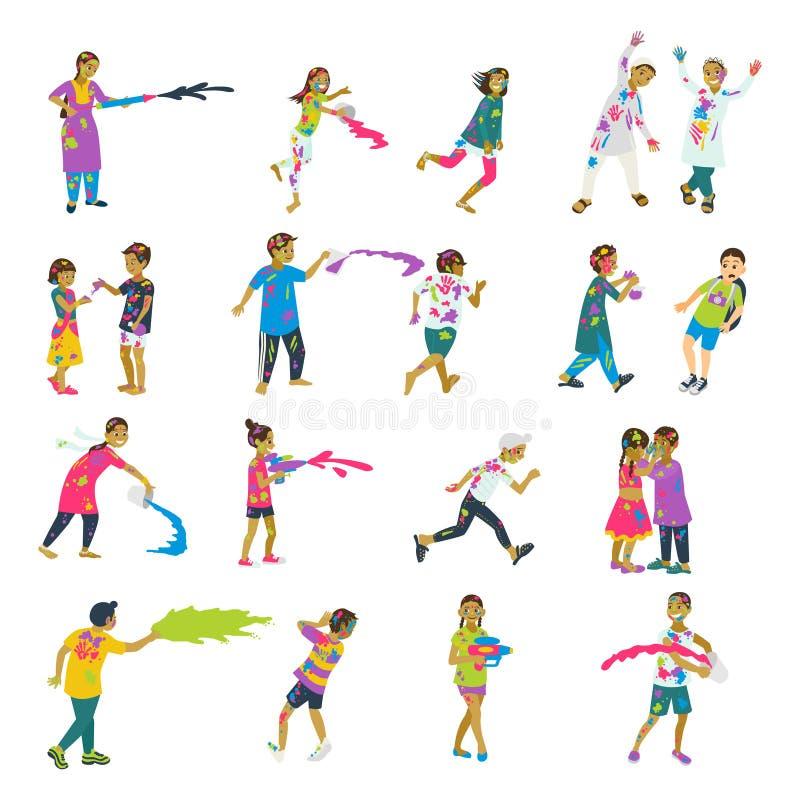Lycklig holiuppsättning av 20 barntecken som spelar holi Vektoruppsättning av tecken royaltyfri illustrationer