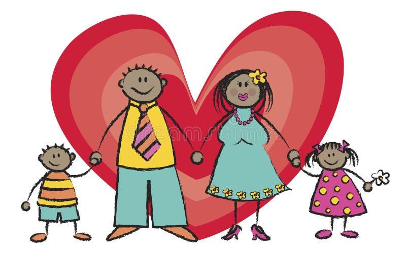 lycklig hudsignal för mörk familj stock illustrationer