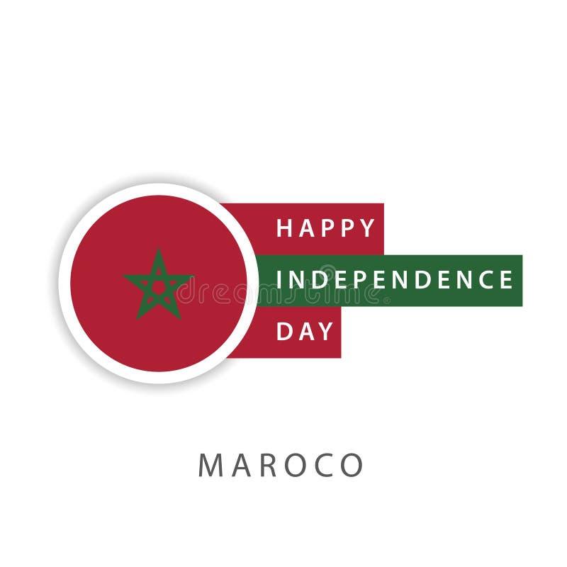 Lycklig illustrat?r f?r design f?r mall f?r Marocko sj?lvst?ndighetsdagenvektor royaltyfri illustrationer