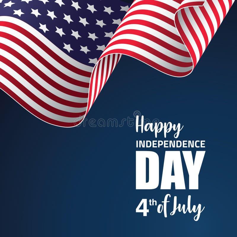 Lycklig illustration för Amerika självständighetsdagenvektor stock illustrationer
