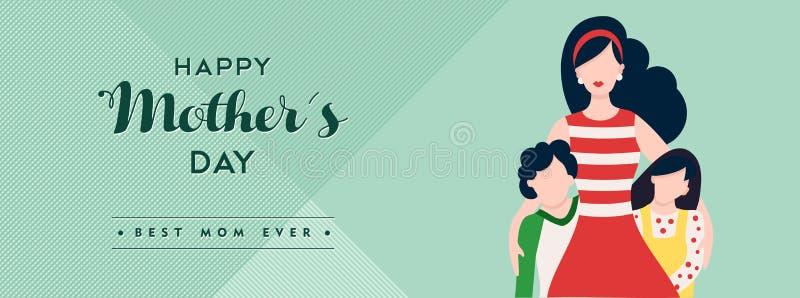 Lycklig illustration för baner för mors dagbarnförälskelse vektor illustrationer