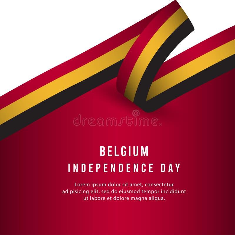 Lycklig illustration för design för mall för vektor för affisch för Belgien självständighetsdagenberöm royaltyfri illustrationer