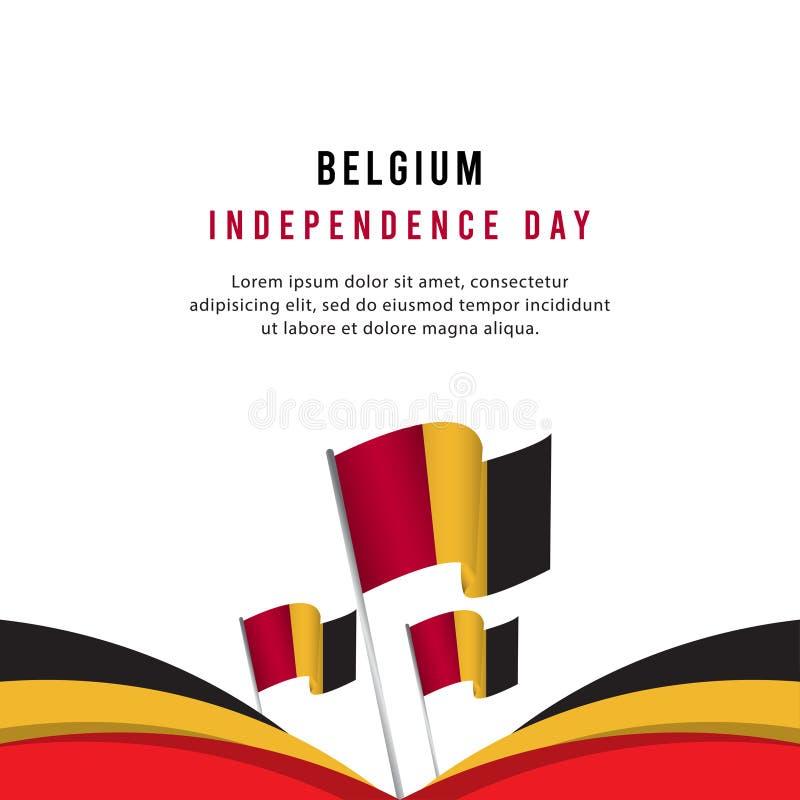Lycklig illustration för design för mall för vektor för affisch för Belgien självständighetsdagenberöm stock illustrationer