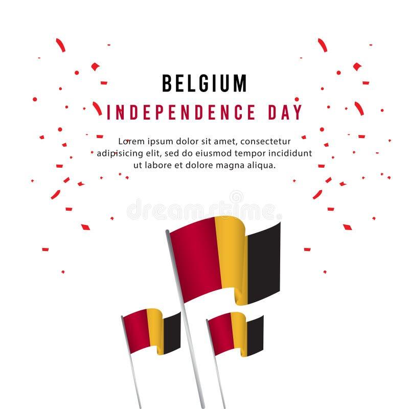 Lycklig illustration för design för mall för vektor för affisch för Belgien självständighetsdagenberöm vektor illustrationer
