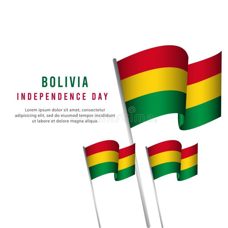 Lycklig illustration för design för mall för vektor för affisch för Bolivia självständighetsdagenberöm royaltyfri illustrationer