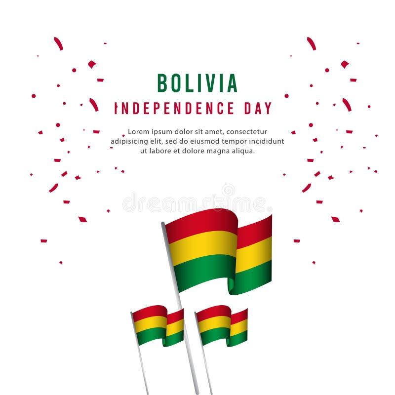 Lycklig illustration för design för mall för vektor för affisch för Bolivia självständighetsdagenberöm vektor illustrationer
