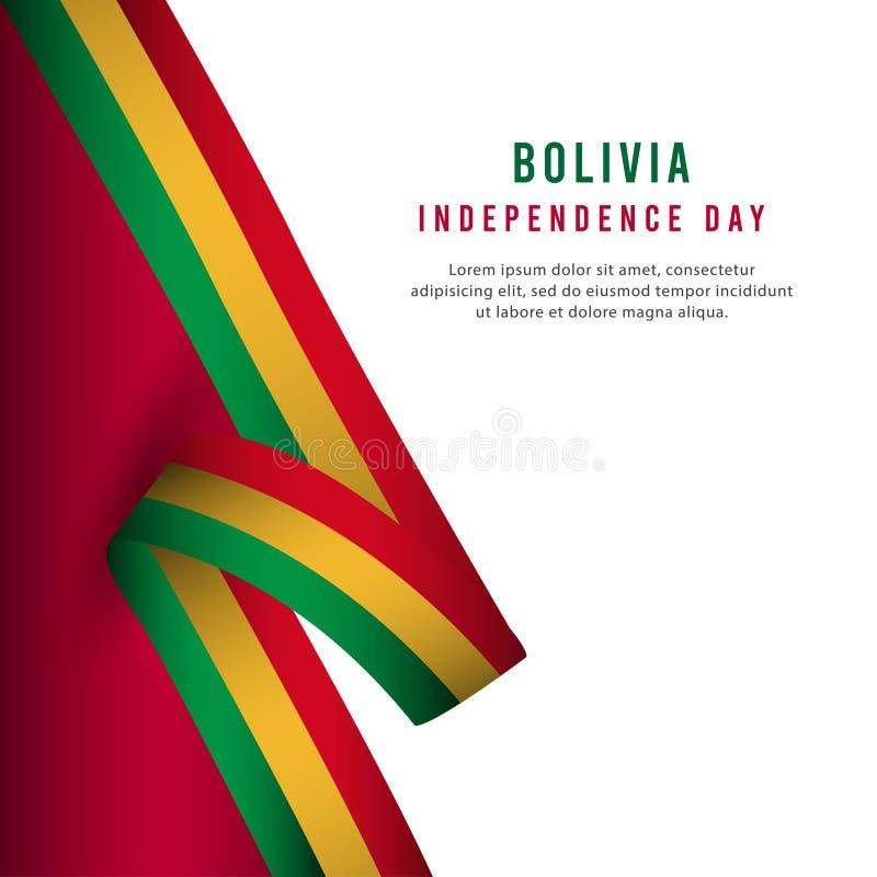 Lycklig illustration för design för mall för vektor för affisch för Bolivia självständighetsdagenberöm stock illustrationer