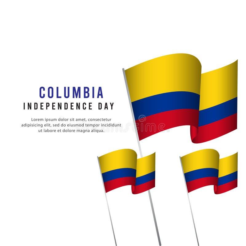 Lycklig illustration för design för mall för vektor för affisch för Columbia självständighetsdagenberöm vektor illustrationer