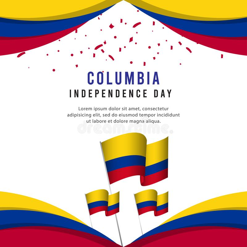 Lycklig illustration för design för mall för vektor för affisch för Columbia självständighetsdagenberöm stock illustrationer