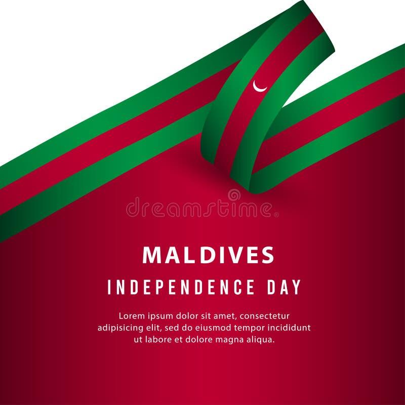 Lycklig illustration för design för mall för vektor för affisch för Maldiverna självständighetsdagenberöm vektor illustrationer