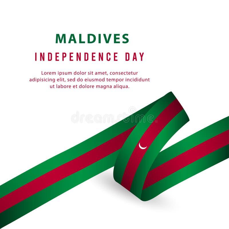 Lycklig illustration för design för mall för vektor för affisch för Maldiverna självständighetsdagenberöm stock illustrationer