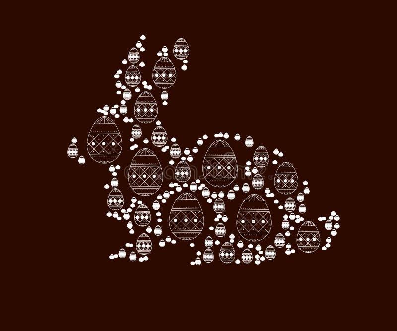 Lycklig illustration för easter kort med ägget, kanin minsta översikt Isolerad vektor Abstrakt bakgrund med den roliga påsken stock illustrationer