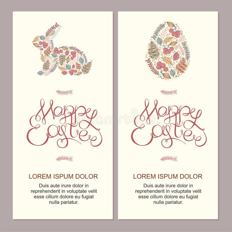 Lycklig illustration för easter kort med dekorativa blom- easter eg. arkivbilder