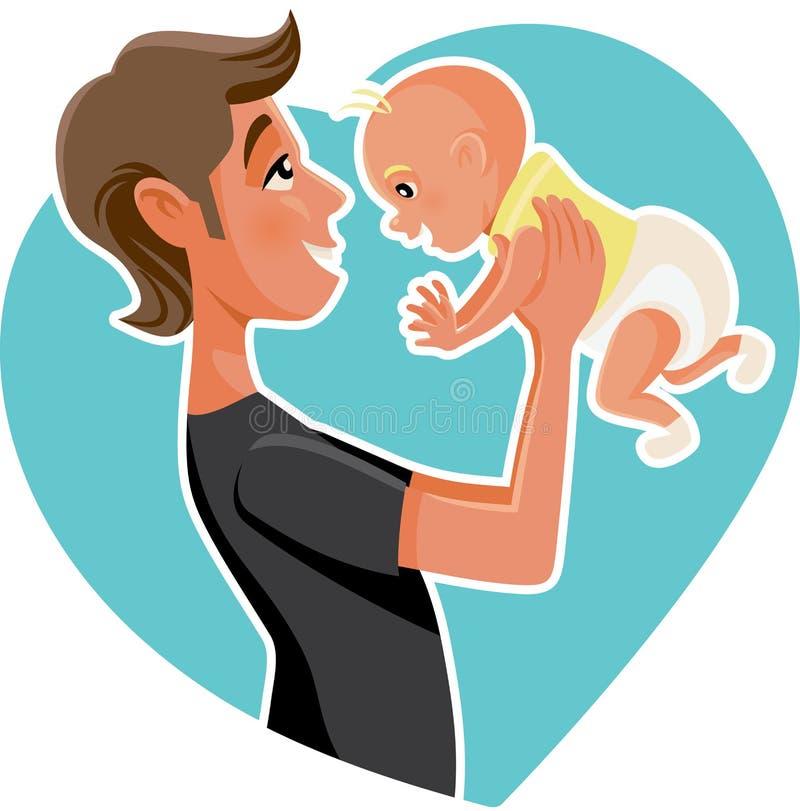 Lycklig illustration för faderHolding His Baby tecknad film royaltyfri illustrationer