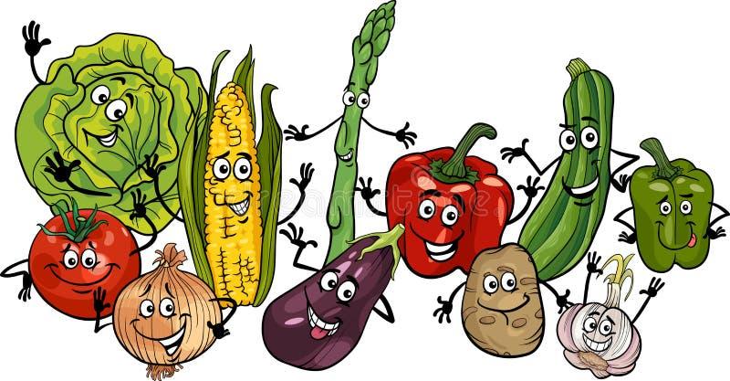 Lycklig illustration för grönsakgrupptecknad film royaltyfri illustrationer