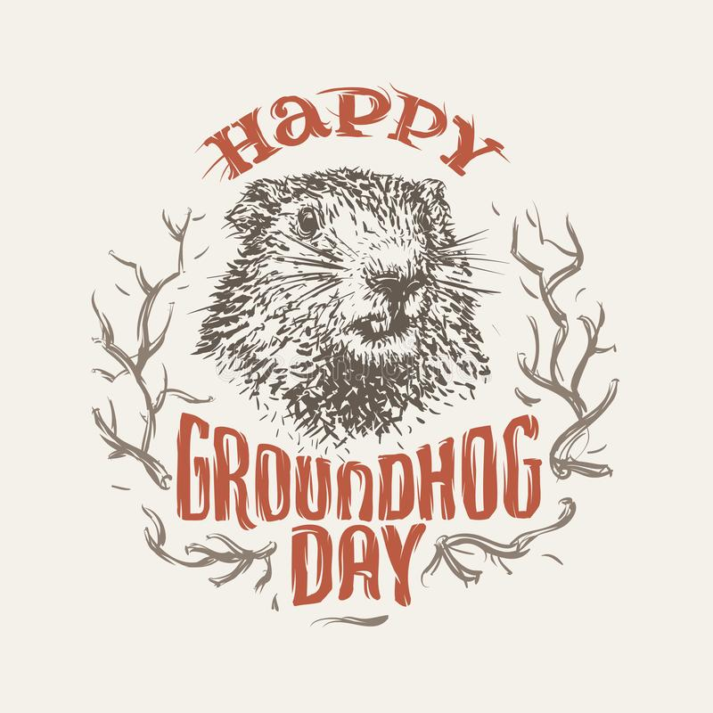 Lycklig illustration för groundhogdag vektor vektor illustrationer