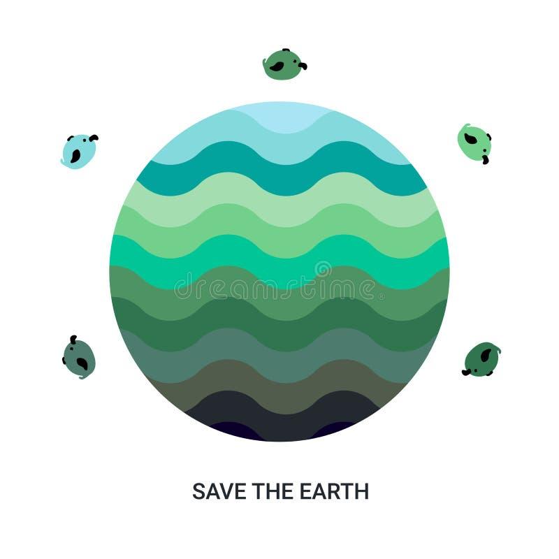 Lycklig illustration för jorddag, baner för miljösäkerhetsberöm stock illustrationer