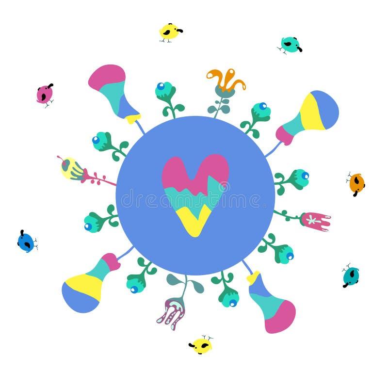 Lycklig illustration för jorddag, baner för miljösäkerhetsberöm - vektor stock illustrationer