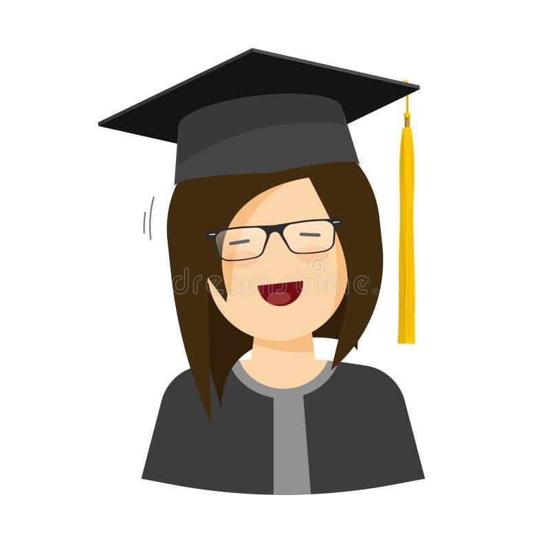 Lycklig illustration för studentflickavektor, kvinnligt tecken i avläggande av examenhatt stock illustrationer