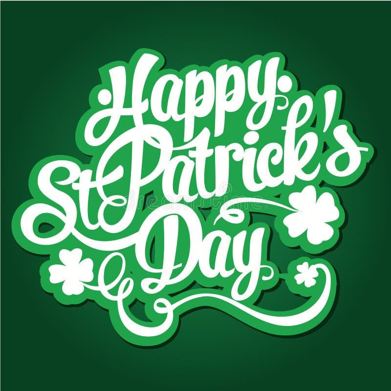 Lycklig illustration för vektor för design för bokstäver för dag för St Patrick ` s hand dragen Göra perfekt för annonsering, aff royaltyfri illustrationer