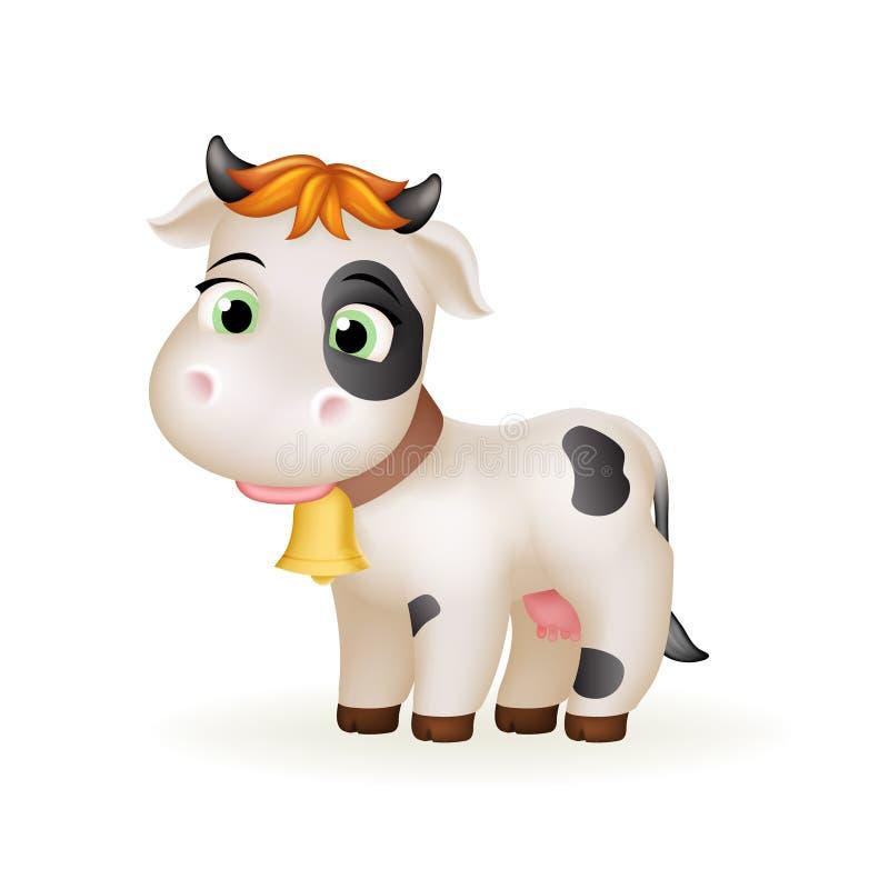 Lycklig illustration för vektor för konst för anseende för ko för kalv för tecknad film för lantgård liten gullig vit däggdjurs-  vektor illustrationer