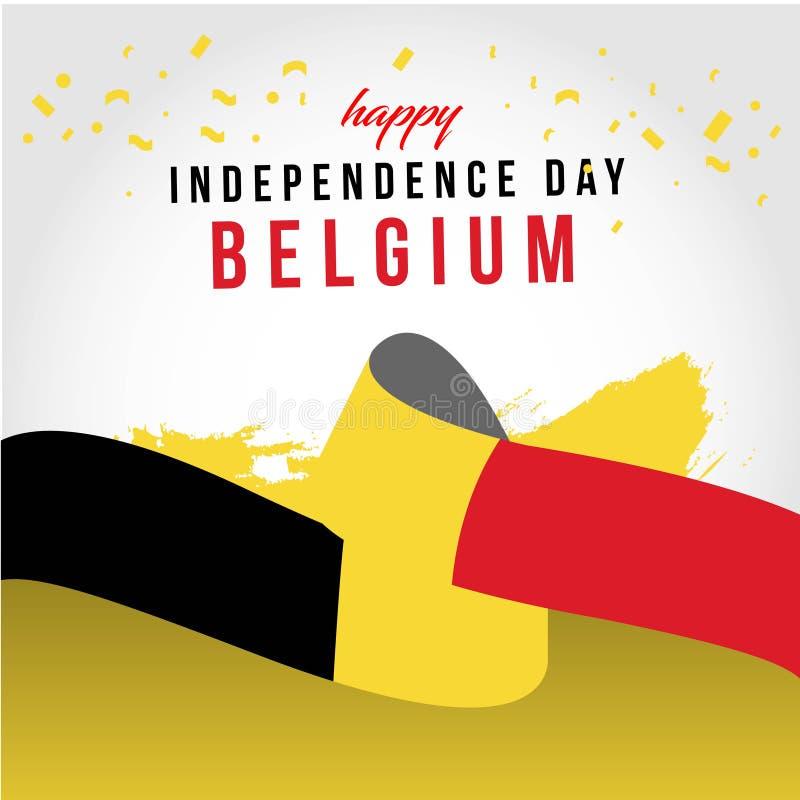 Lycklig illustration f?r design f?r mall f?r Belgien oberoende dagvektor royaltyfri illustrationer