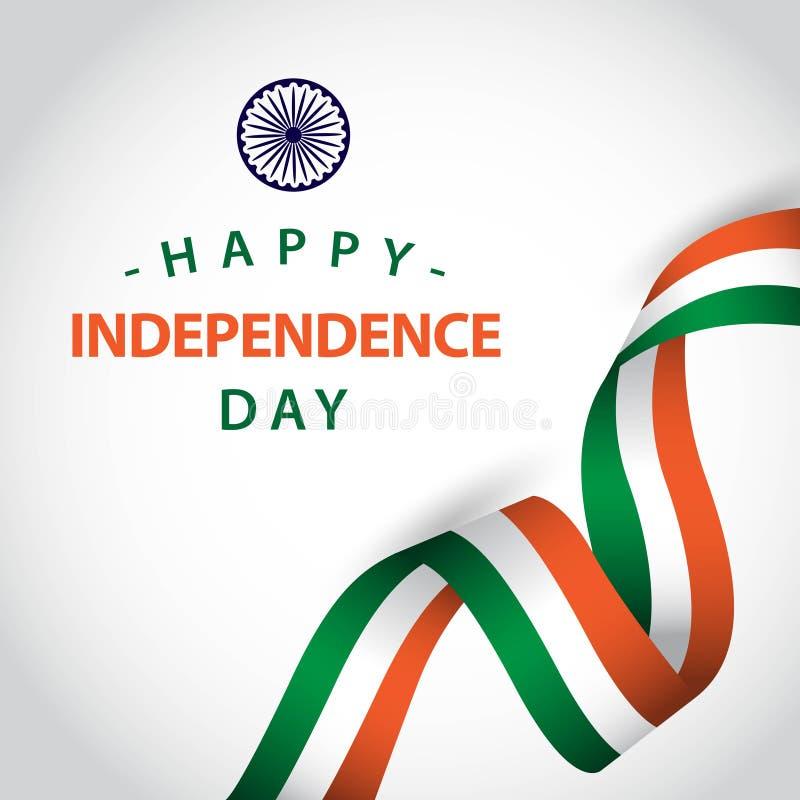 Lycklig illustration f?r design f?r mall f?r Indien oberoende dagvektor royaltyfri illustrationer