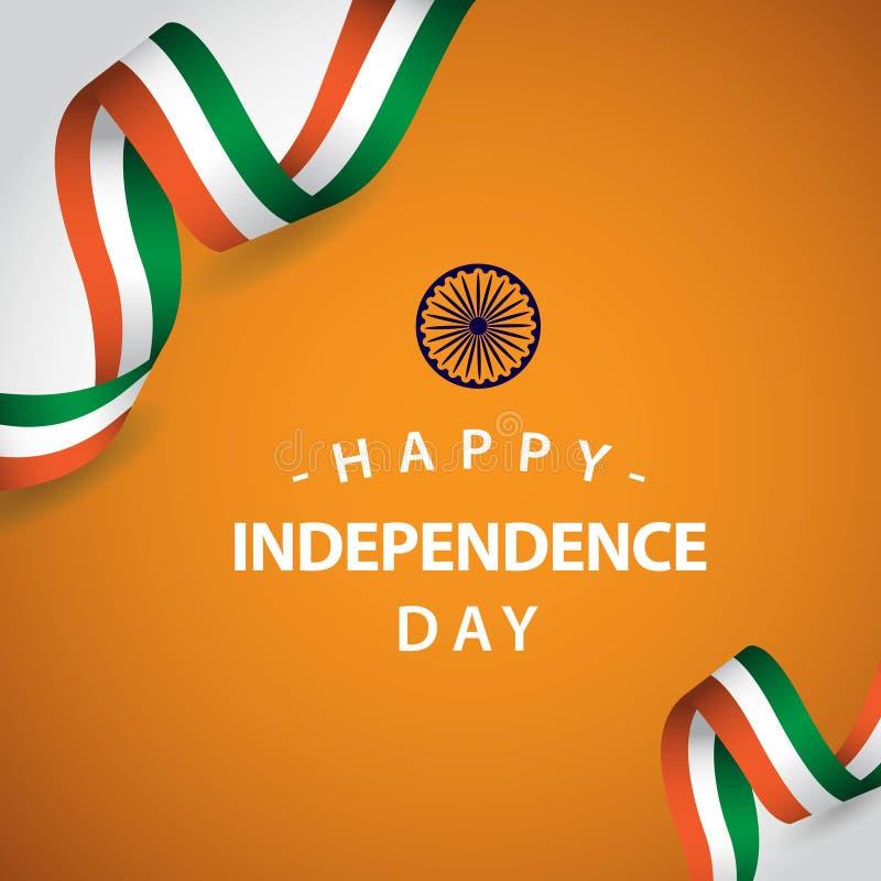 Lycklig illustration f?r design f?r mall f?r Indien oberoende dagvektor stock illustrationer