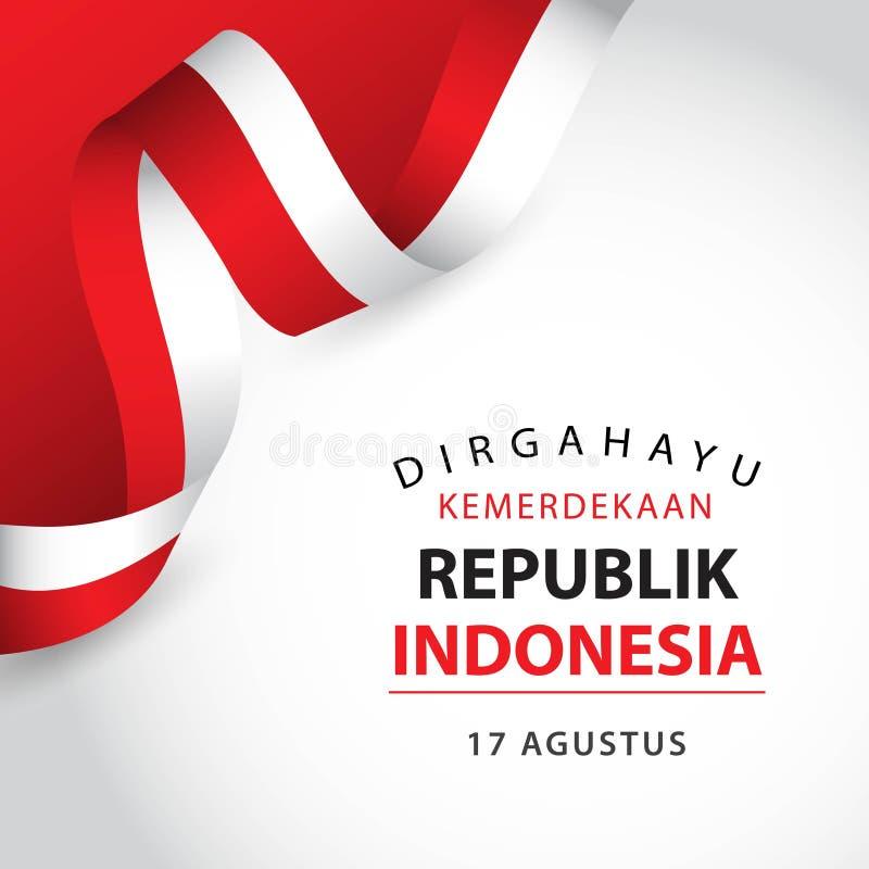 Lycklig illustration f?r design f?r mall f?r Indonesien oberoende dagvektor royaltyfri illustrationer
