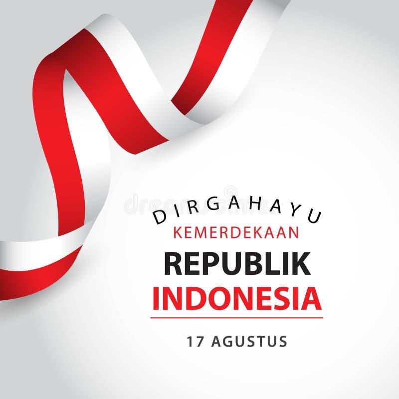 Lycklig illustration f?r design f?r mall f?r Indonesien oberoende dagvektor vektor illustrationer