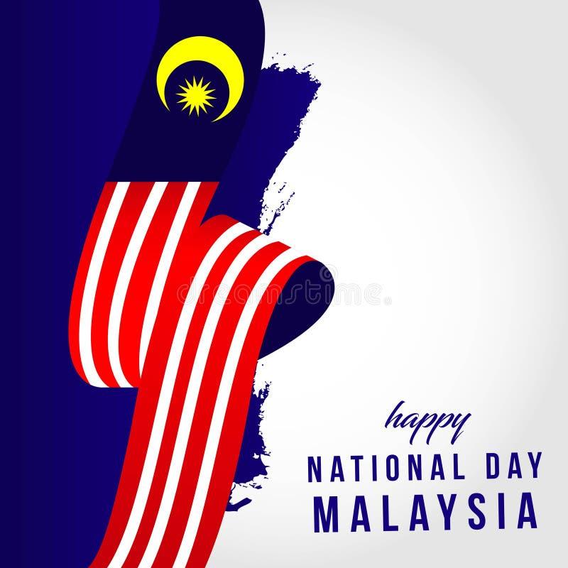 Lycklig illustration f?r design f?r mall f?r vektor Malaysia f?r nationell dag royaltyfri illustrationer
