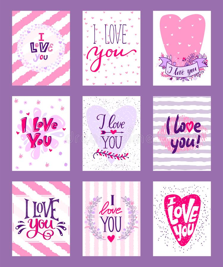 Lycklig illustration f?r valentindagvektor Upps?ttning av det romantiska h?lsningkortet f?r valentin, inbjudan, affischdesignmall stock illustrationer
