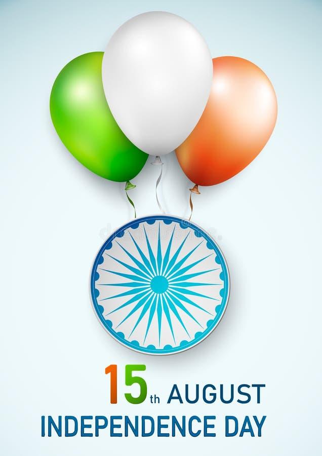 Lycklig indisk republikdagbakgrund med ballonger i traditionellt tricolor av den indiska flaggan också vektor för coreldrawillust stock illustrationer