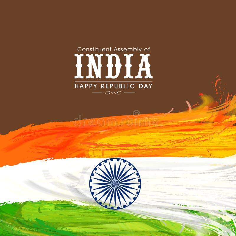 Lycklig indisk republikdagberöm med tricolor fjädrar stock illustrationer