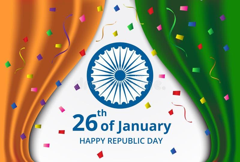 Lycklig indisk republikdagberöm på gardinfärg av Indien royaltyfri illustrationer