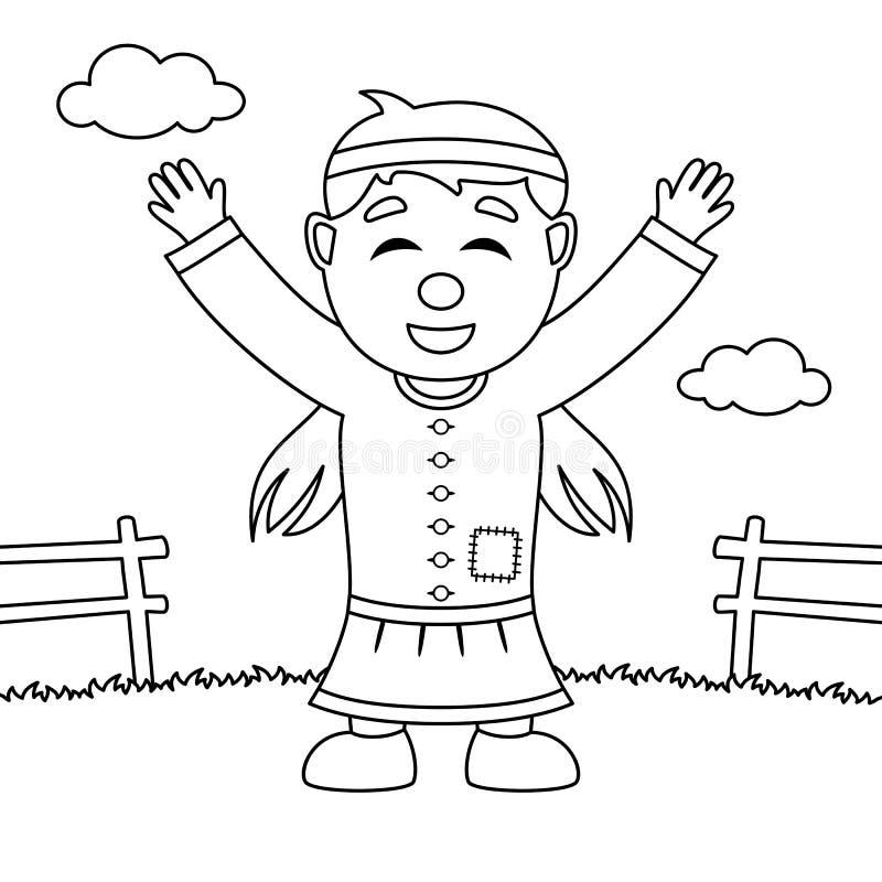 Lycklig infödd kvinna för färgläggningtacksägelse vektor illustrationer